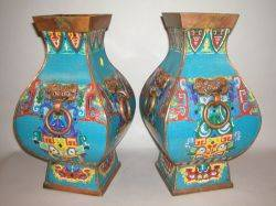 Large Pair of Chinese Cloisonne Vases