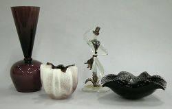 Four Purple Art Glass Pieces