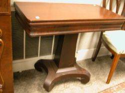Empire Mahogany Pedestal Card Table