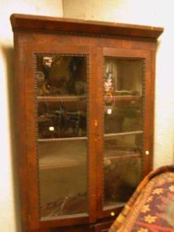Late Empire Glazed Ripple Molded and Mahogany Veneer Corner Cupboard