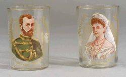 Pair of French Nicholas II Enamel Decorated Commemorative Glasses
