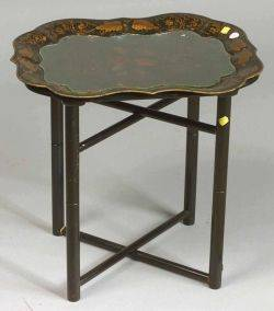 Victorian Tole Peinte Tray on Later Stand