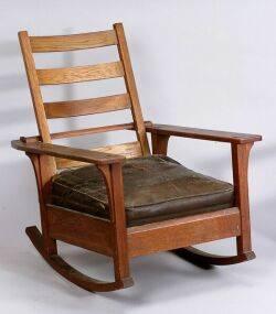 L  J G Stickley Arts  Crafts Oak Rocking Chair