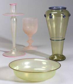 Four Carder Steuben Glass Pieces