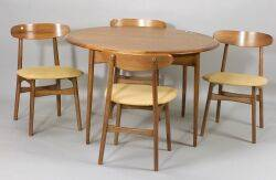 Scandinavian Teak Table and Four Hans Wegner Style Chairs