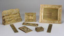EightPiece Tiffany Studios Gilt Bronze and Slag Glass Desk Set