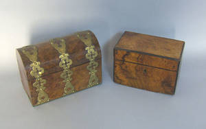 Three misc boxes to include burled walnut tea caddy
