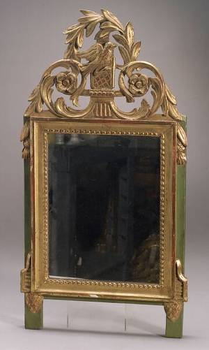 Giltwood and Green Painted Neoclassicalstyle Mirror