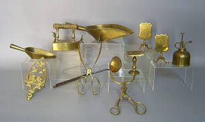 Group of brass to include tongs