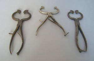 Three iron sugar nippers