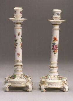 Pair of Dresden Porcelain Candlesticks