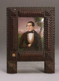 Framed Painted Porcelain Portrait Miniature of a Gentleman