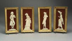 Four Framed Ivory Plaques of Ladies and Gentlemen