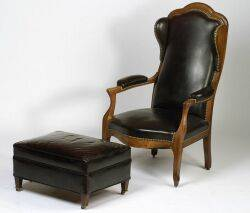 Victorian Walnut Diminutive Wing Armchair and Later Ottoman