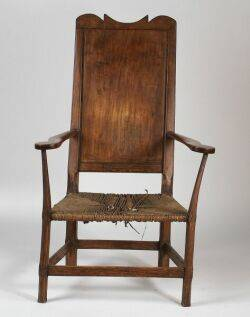 English Provincial Fruitwood Rush Seat Armchair