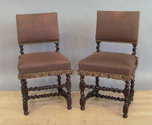 Pair of Jacobean style barley twist chairs