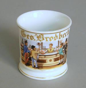 Occupational shaving mug with a bartender