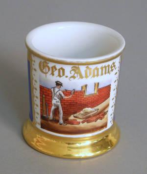 Occupational shaving mug with a brick layer