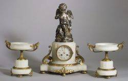 White Onyx and Bronze Clock Garniture