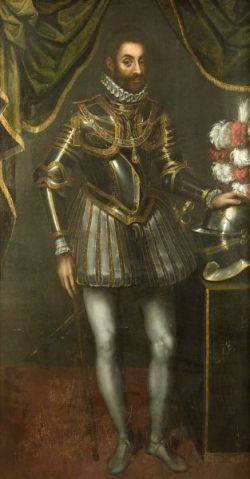 Continental School 19th Century Full Length Portrait of a Gentleman in Armor with Dress Helmet