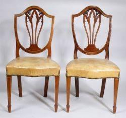 Set of Ten HepplewhiteStyle Inlaid Mahogany Side Chairs