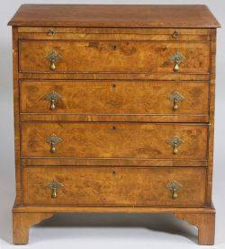 Early GeorgianStyle Inlaid Burl Walnut Diminutive Chest of Drawers