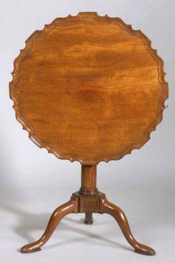 George IIIChippendale Carved Mahogany Piecrust Tilttop Tripod Table