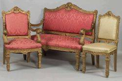 Seven Piece Suite of BaroqueLouis XIV Style Giltwood Seating Furniture