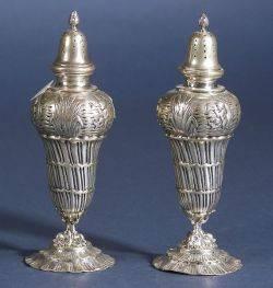 Pair of German 800 Silver Rococo Revival Casters