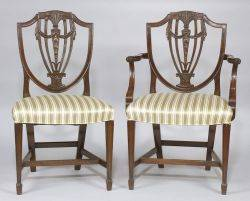 Set of Eight Hepplewhite Style Carved Mahogany Dining Chairs