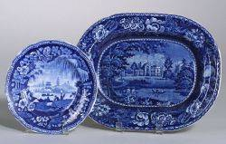 R Halls Blue and White Alton Abbey Transfer Decorated Staffordshire Platter and a Staffordshire Blue and White Scenic Transfer Deco
