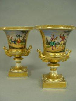 Pair of Paris Porcelain Gilt and Handpainted Dancing Couples Decorated Urns