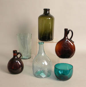 Six pcs of misc glassware