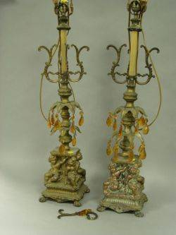 Pair of Rococostyle Gilt Cast Metal Table Lamps with Cherubs