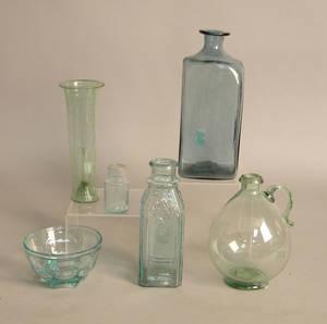Six pcs of misc aqua glass