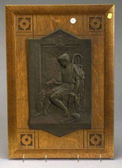 Framed Patinated Metal Plaque of Odysseus and His Dog