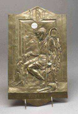 Patinated Spelter Plaque of Ulysses and His Dog
