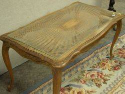 Louis XV Style Carved Walnut and Caned Coffee Table
