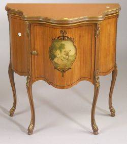 Louis XV Style Vernis Martin Serpentine Cabinet