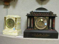 Ansonia Victorian Gilt and Painted Metal Mantel Clock and a Giltmetal Mounted Onyx Mantel Clock