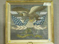 Framed Chinese Silk Embroidered Patriotic Eagle Shield and Flags Panel