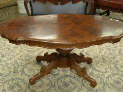 Victorian Mahogany and Rosewood Veneer Turtletop Low Occasional Table