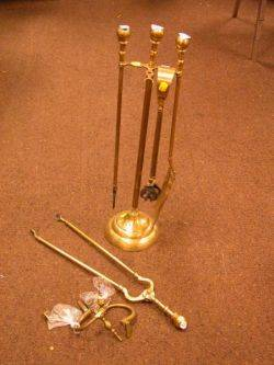 Set of Three Brass Fire Tools with a Stand Two Brass Jamb Hooks and Tongs