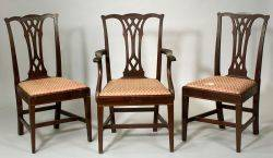 Set of Eight Potthast Bros Federalstyle Mahogany Inlaid Dining Chairs