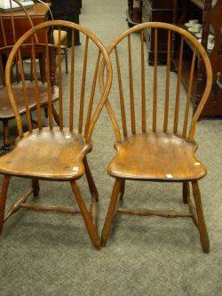 Two Windsor Ash and Maple Bowback Side Chairs