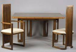 Modern Walnut Dining Table and Twelve Chairs