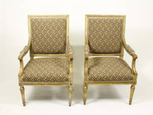 Pair of French Louis XVI Style Giltwood Fauteuils
