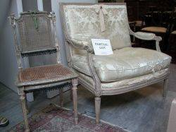Louis XVI Style Carved and Painted Pair of Fauteuil and a Pair of Side Chairs