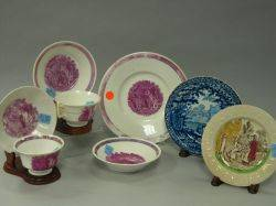 Six Pieces of Pink Lustre Tea Ware a Staffordshire ABC Plate and a Clews Blue and White Scenic Staffordshire Plate