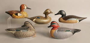Group of five duck decoys to include a pair of teals